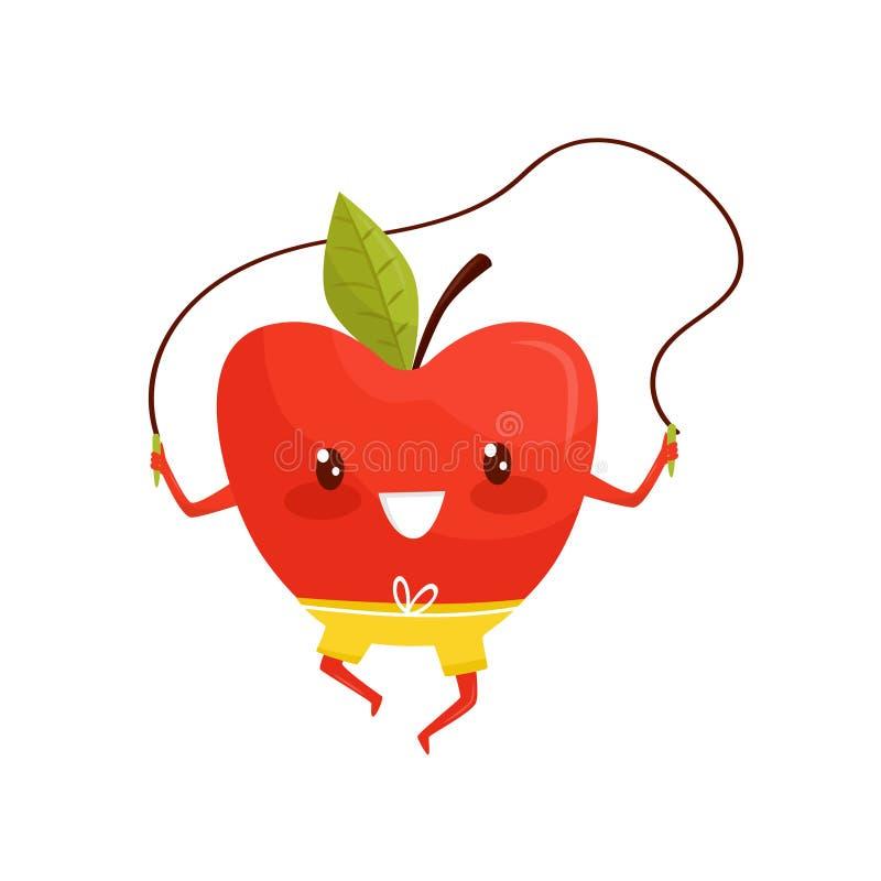Manzana roja divertida que ejercita con la cuerda de salto, personaje de dibujos animados juguetón de la fruta que hace vector de stock de ilustración