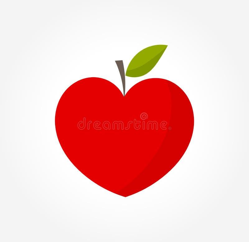 Manzana roja en forma de corazón ilustración del vector