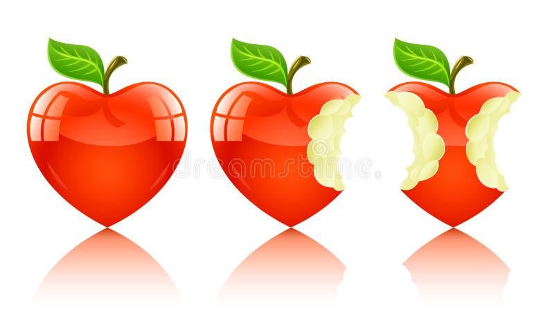 Manzana roja en la forma de corazón del amor stock de ilustración