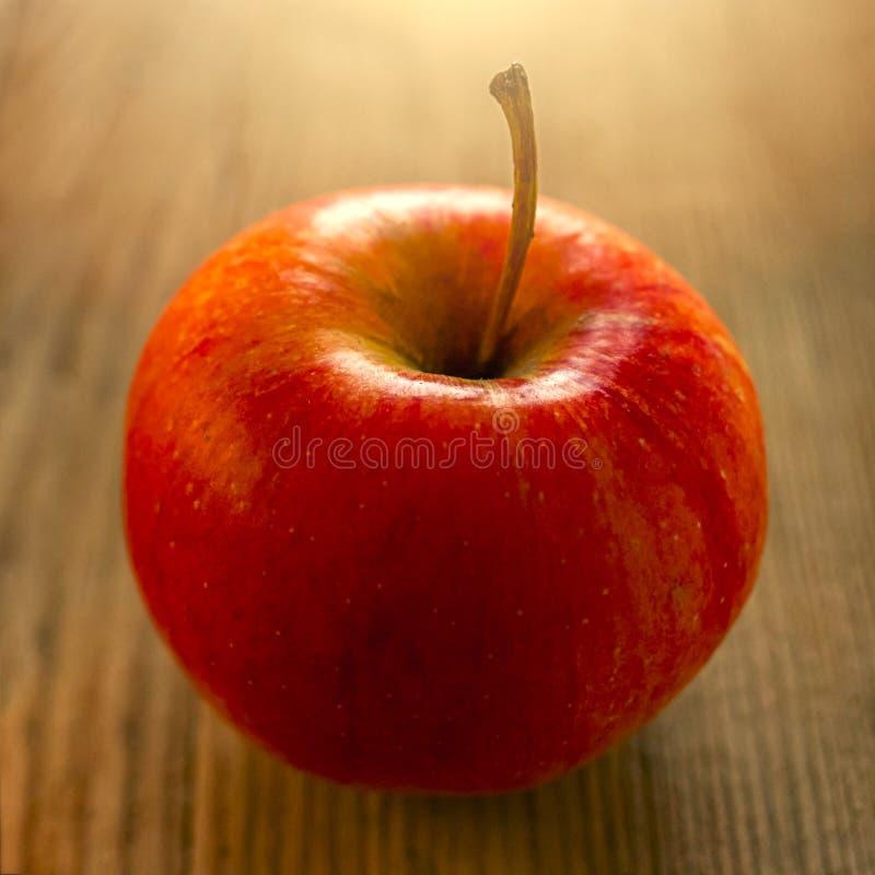 Manzana roja en la tabla de madera rústica Fruta prohibida de Eden El ingrediente del jugo, sidra, sacador, reflexionó sobre el v fotos de archivo libres de regalías