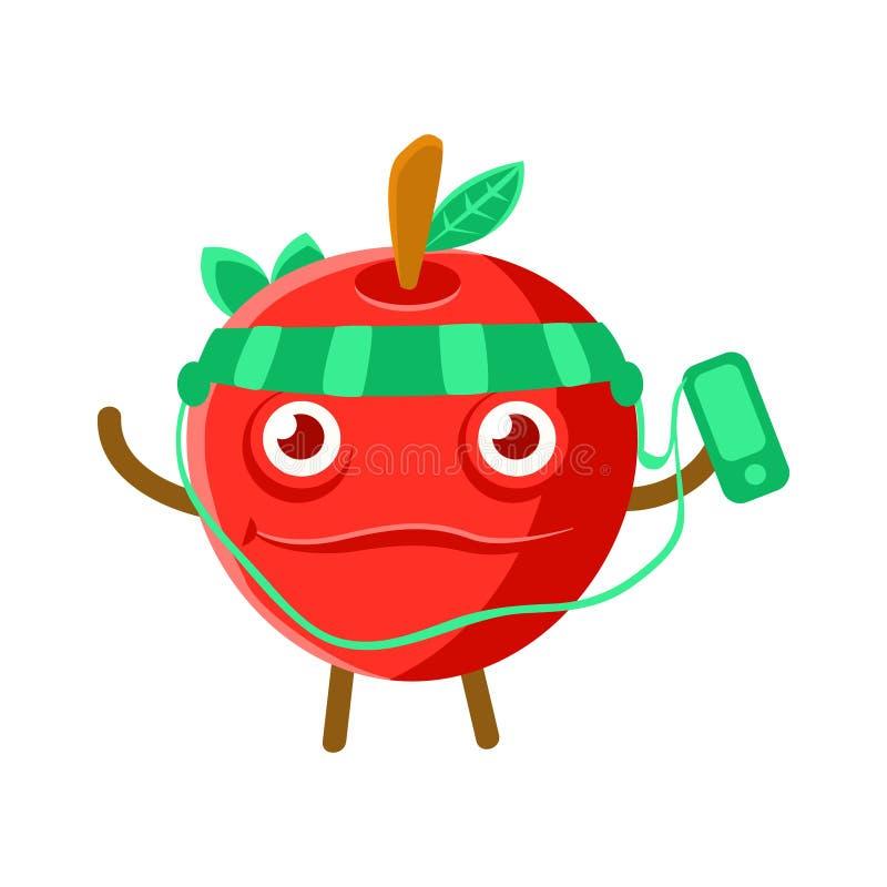 Manzana roja feliz de la historieta linda que escucha la música con un smartphone y los auriculares, vector colorido del carácter stock de ilustración