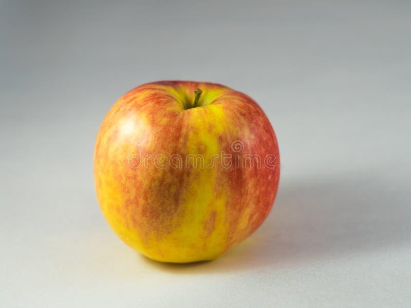 Manzana roja y amarilla fresca aislada en blanco imágenes de archivo libres de regalías