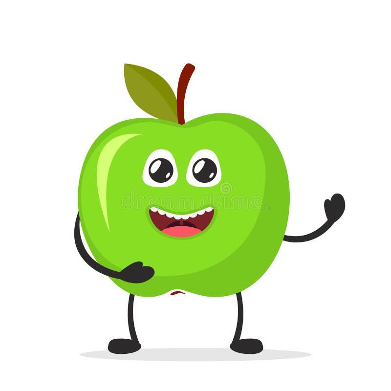 Manzana sonriente feliz Concepto divertido de la fruta Icono plano del personaje de dibujos animados Ilustración del vector libre illustration