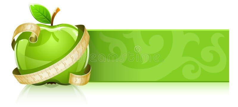 Manzana verde brillante con la línea de medición ilustración del vector