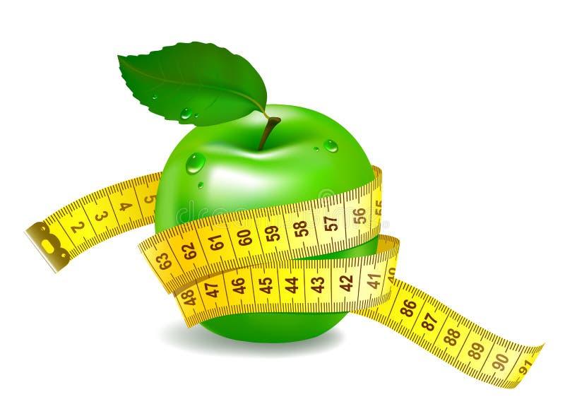 Manzana verde con la cinta de medición stock de ilustración
