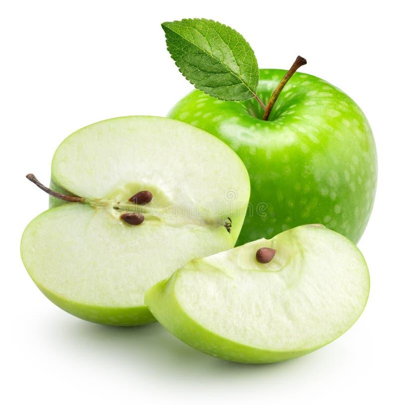 Manzana verde con la hoja imagen de archivo libre de regalías