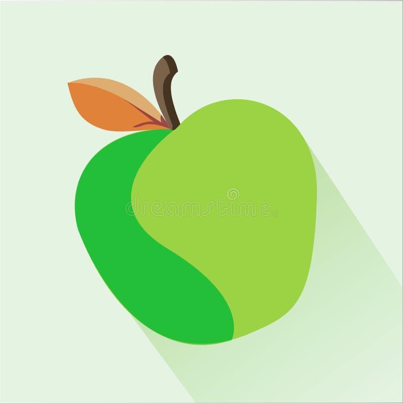 Manzana verde con la hoja anaranjada Sombra larga ilustración del vector