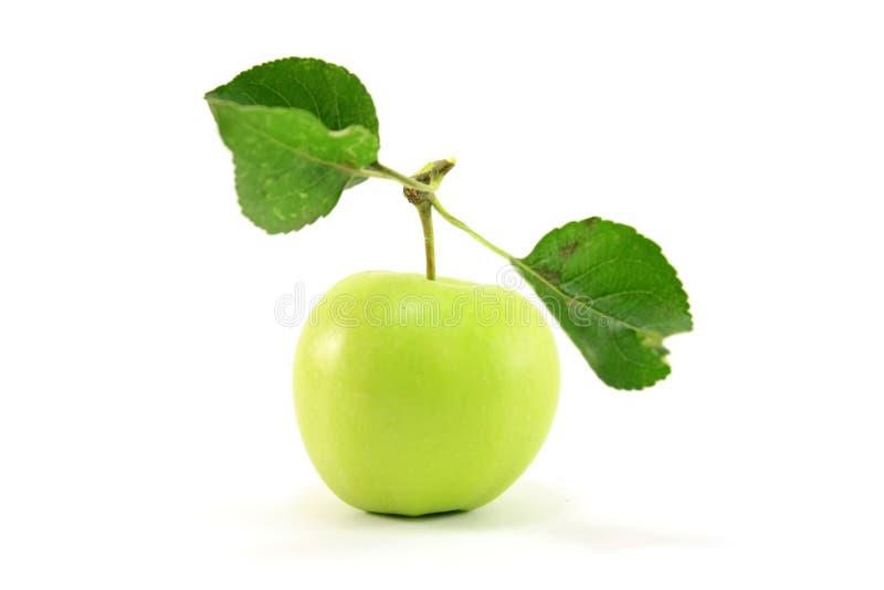 Manzana verde con las hojas foto de archivo