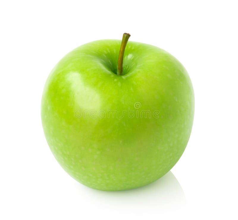 Manzana verde en el fondo blanco con la trayectoria de recortes, salud de la fruta fotos de archivo libres de regalías