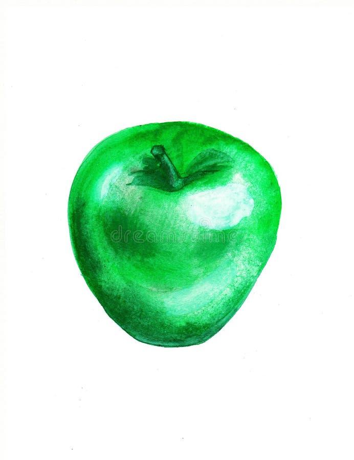 Manzana verde en un fondo blanco ilustración del vector