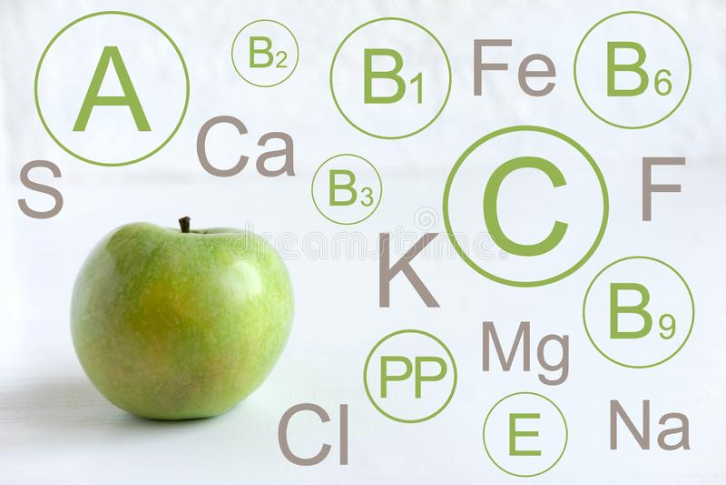 Manzana verde Infographic con las vitaminas y los minerales en una manzana verde Ejemplo para un blog con una comida sana Frutas  libre illustration