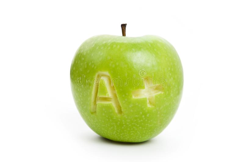 Manzana verde y un signo más fotos de archivo