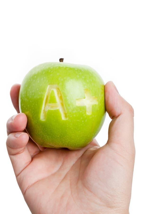 Manzana verde y un signo más imagen de archivo libre de regalías