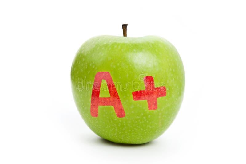 Manzana verde y un signo más fotos de archivo libres de regalías