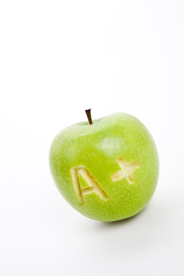 Manzana verde y un signo más imagen de archivo