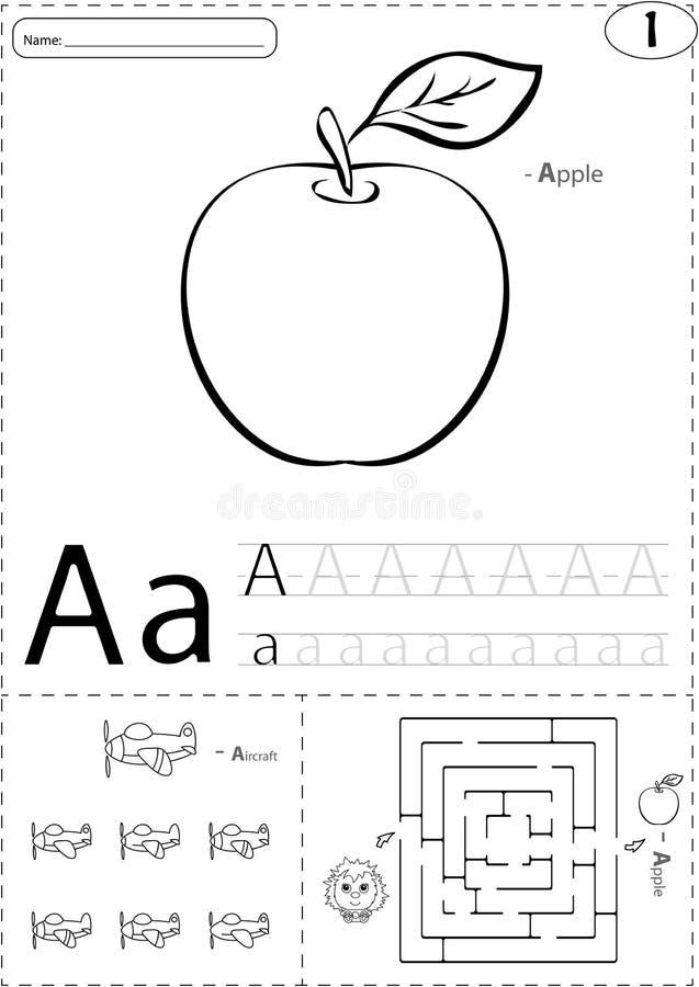 Manzana y aviones de la historieta Hoja de trabajo de trazado del alfabeto: escritura stock de ilustración
