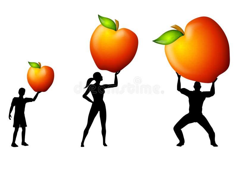 Manzanas de la explotación agrícola de la nutrición de la familia libre illustration
