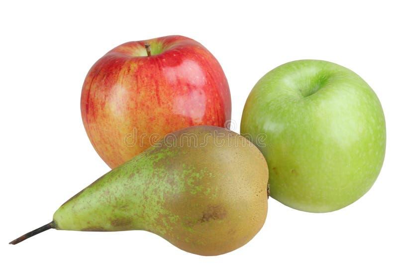 Manzanas de la fruta y una pera imagen de archivo