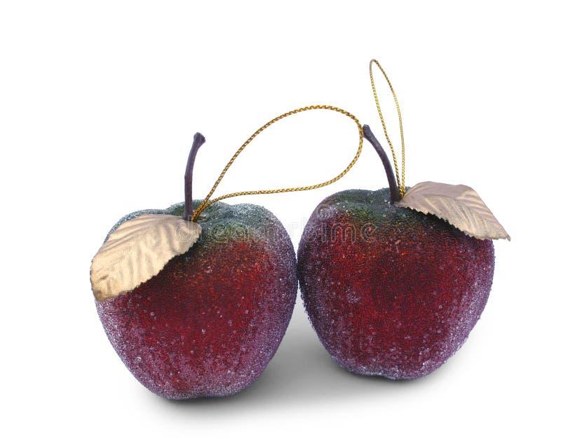 Manzanas de las decoraciones del árbol de navidad fotos de archivo