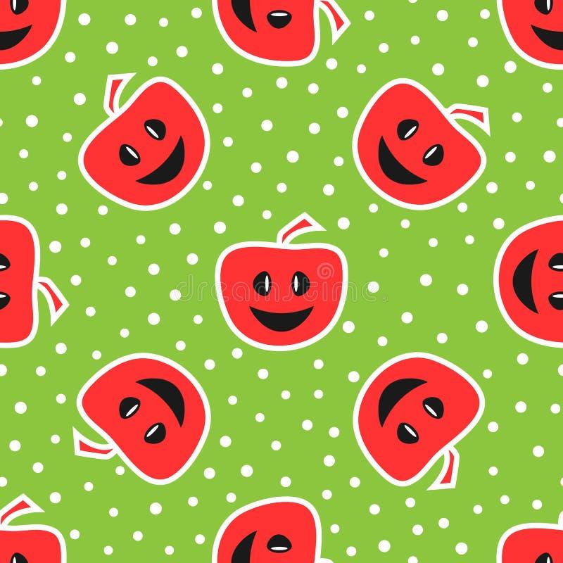 Manzanas divertidas con la cara sonriente Modelo inconsútil colorido Rojo, stock de ilustración