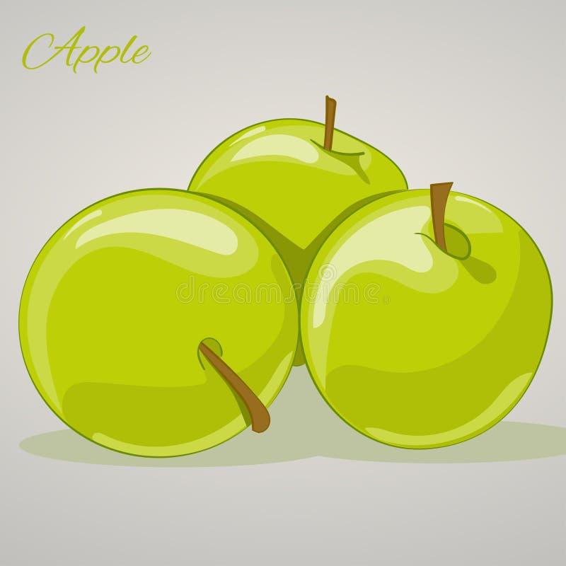 Manzanas dulces de la historieta en el fondo gris, ejemplo del vector stock de ilustración