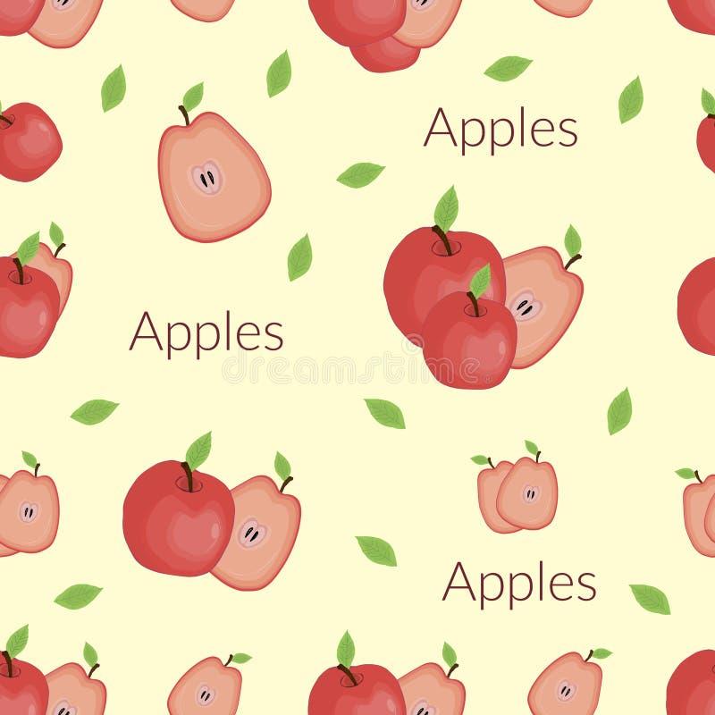 Manzanas jugosas en el estilo del vintage, estilo hecho a mano, estilo de la historieta con tipografía libre illustration