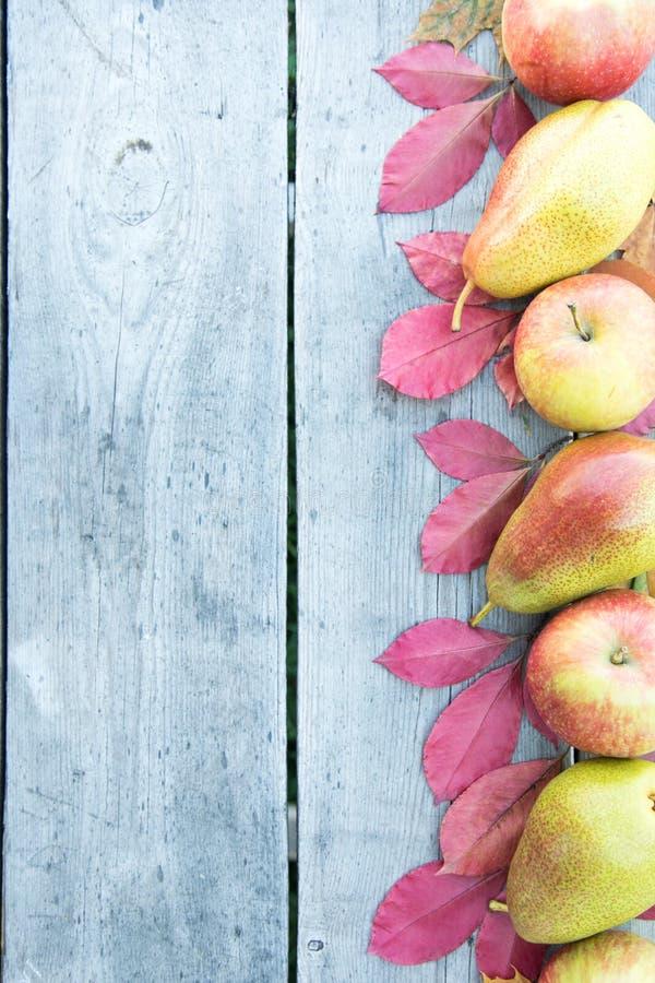 Manzanas, peras y hojas de otoño en fondo de madera CCB del otoño imagen de archivo libre de regalías