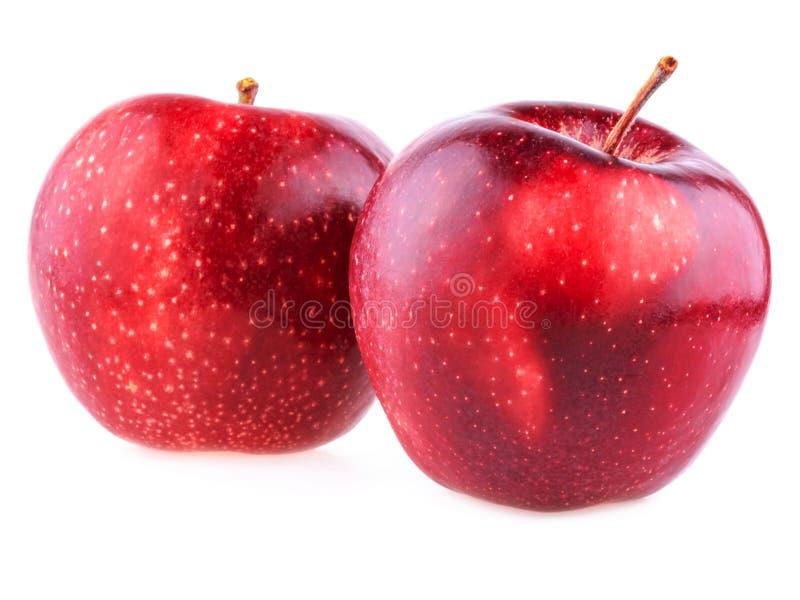 Manzanas rojas. Dos manzanas rojas de fondo blanco imágenes de archivo libres de regalías