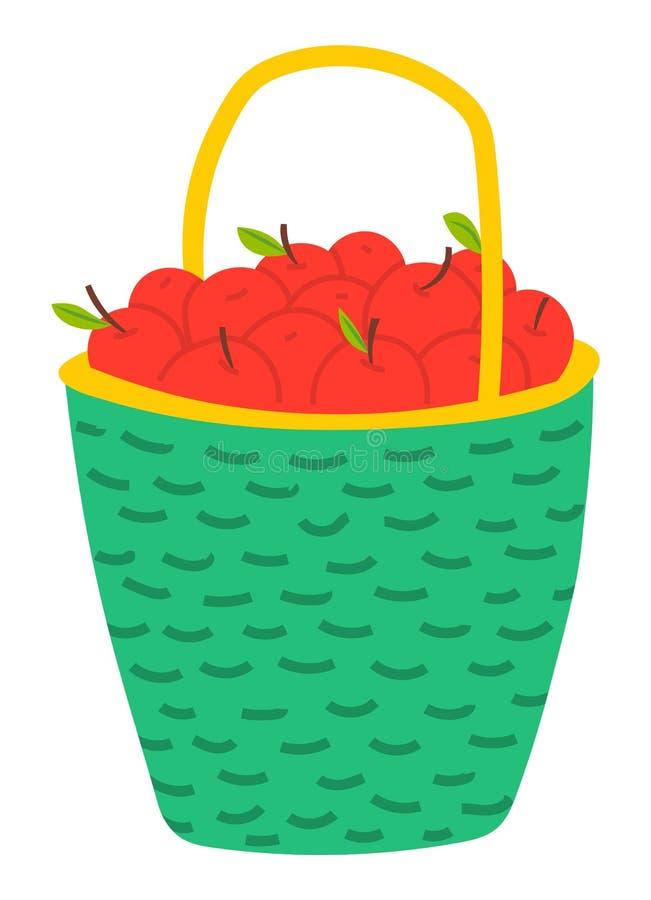 Manzanas rojas en la cesta, vector del tema de la agricultura stock de ilustración