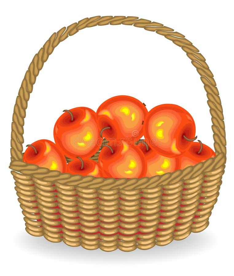 Manzanas rojas frescas de la cosecha abundante en una cesta La fruta es muy sabrosa y vitamina Una invitación exquisita para la s libre illustration