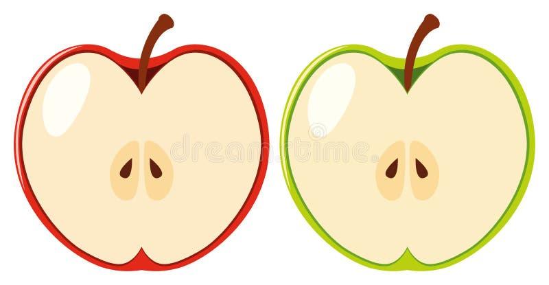 Manzanas rojas y verdes cortadas por la mitad libre illustration