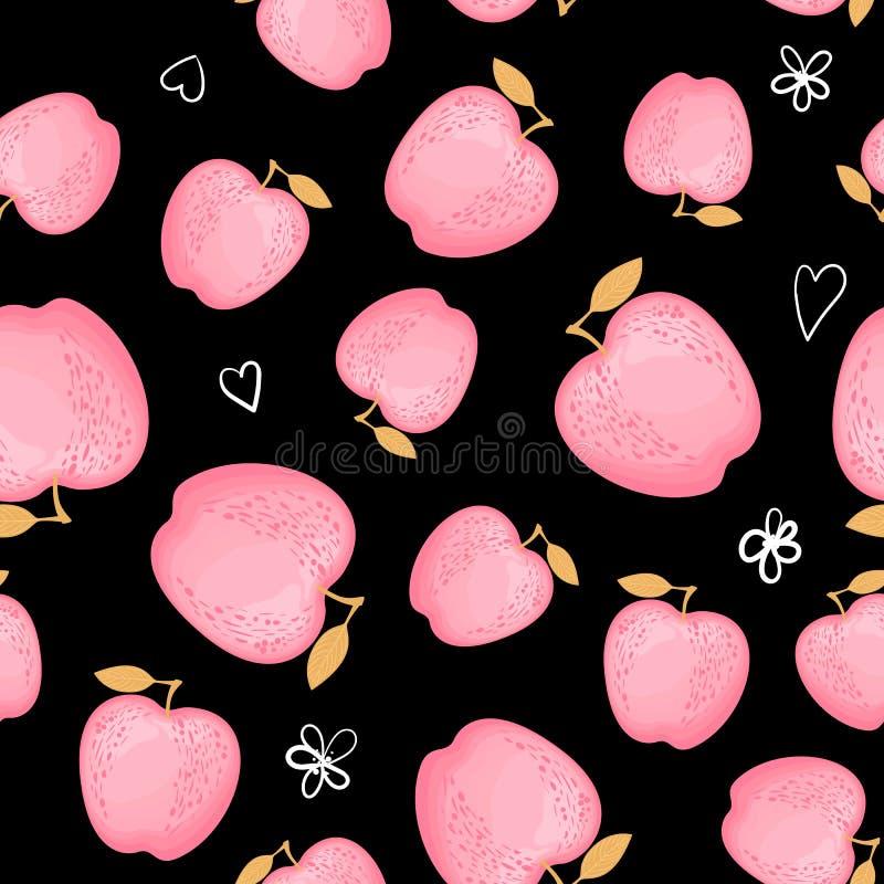 Manzanas rosadas lindas de la moda de Kawai aisladas en un fondo negro Ilustración del vector ilustración del vector