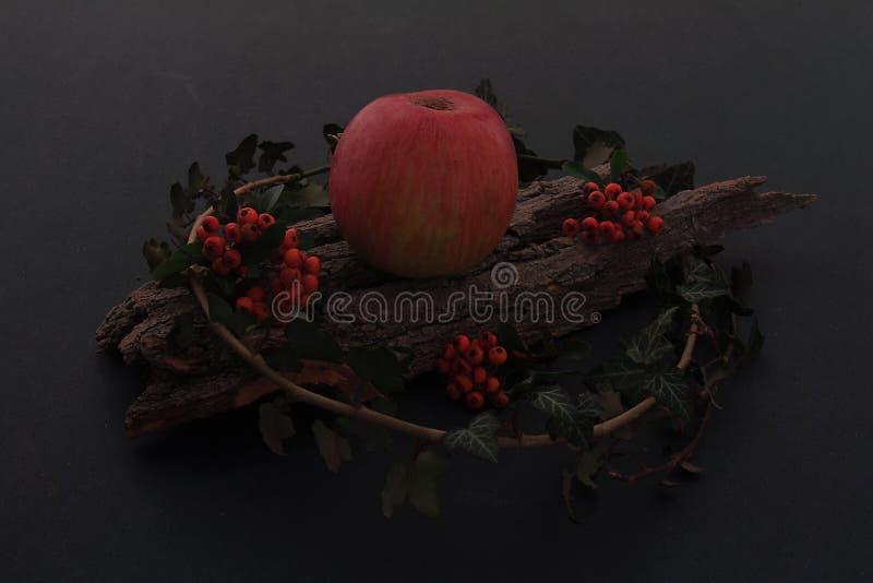 Manzanas sabrosas maduras en la tabla de madera fotos de archivo