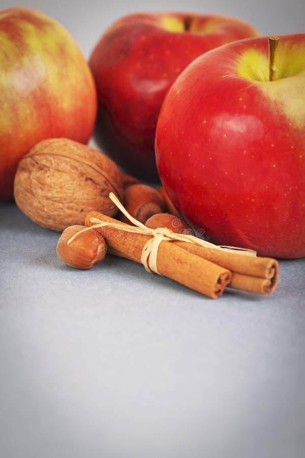 Manzanas, tuercas y cinamomo fotografía de archivo libre de regalías