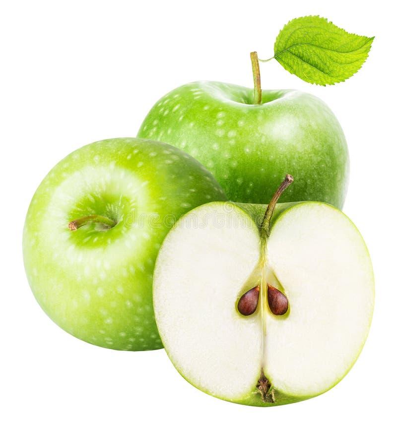 Manzanas verdes aisladas en el fondo blanco foto de archivo