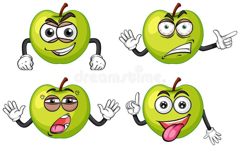 Manzanas verdes con cuatro expresiones faciales ilustración del vector