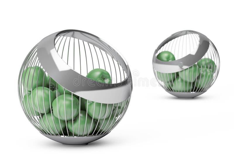 Manzanas verdes en el florero del alambre del acerocromo representación 3d libre illustration