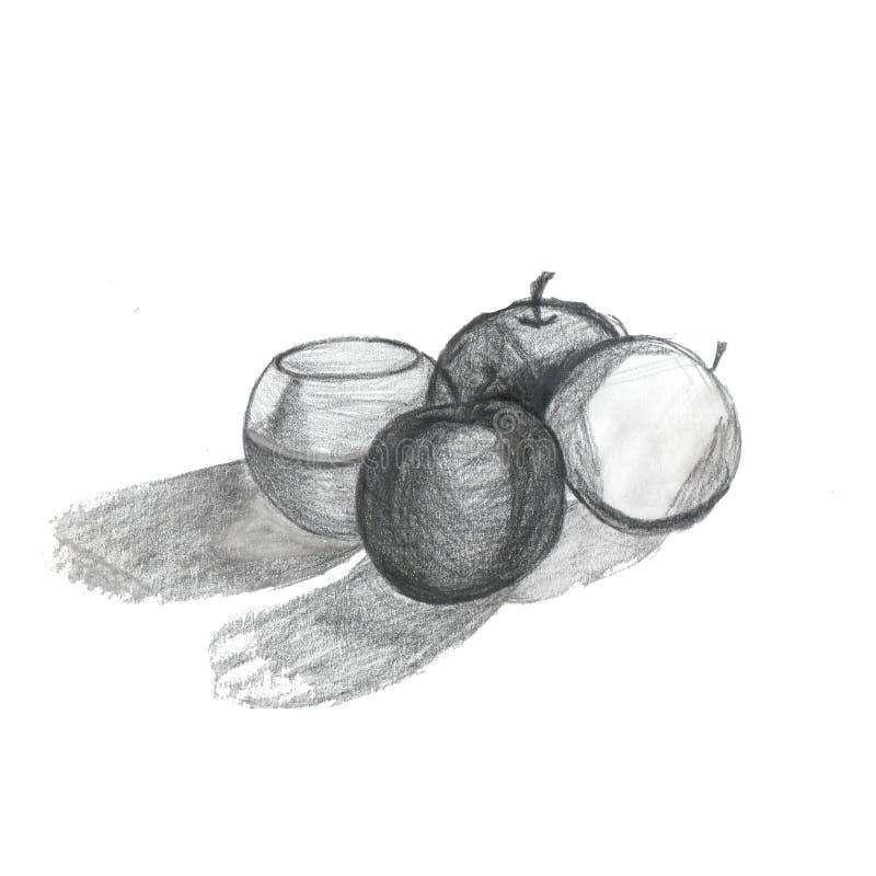 Manzanas y florero blancos y negros del ejemplo imagen de archivo