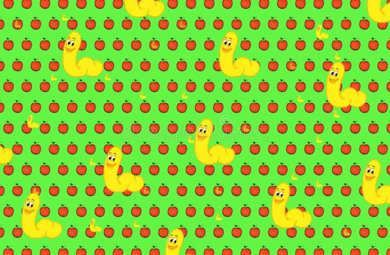 Manzanas y fondo rojos de los gusanos ilustración del vector