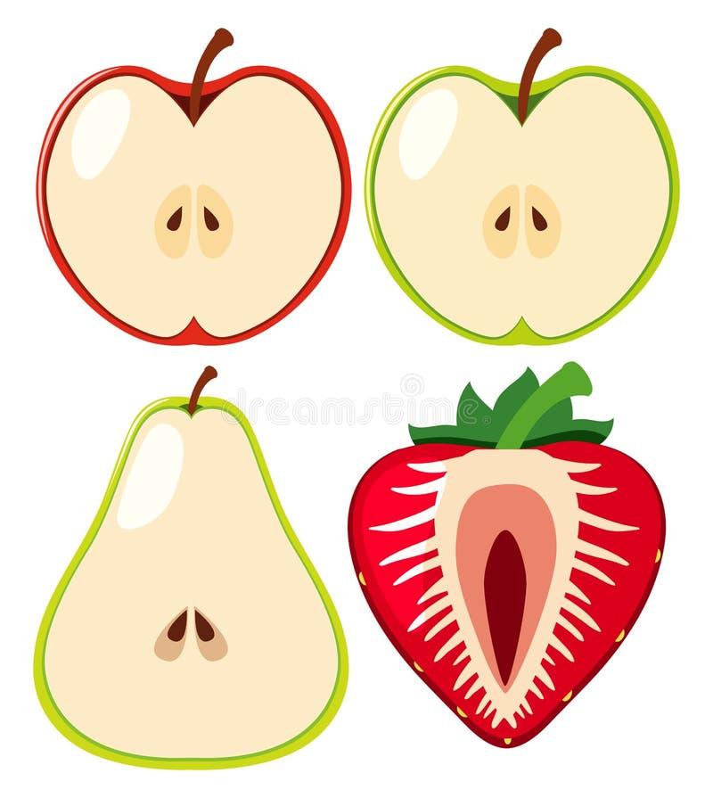 Manzanas y fresa cortadas por la mitad ilustración del vector