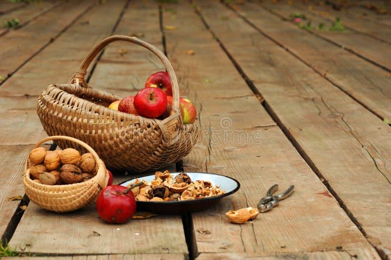 Manzanas y nueces fotos de archivo libres de regalías