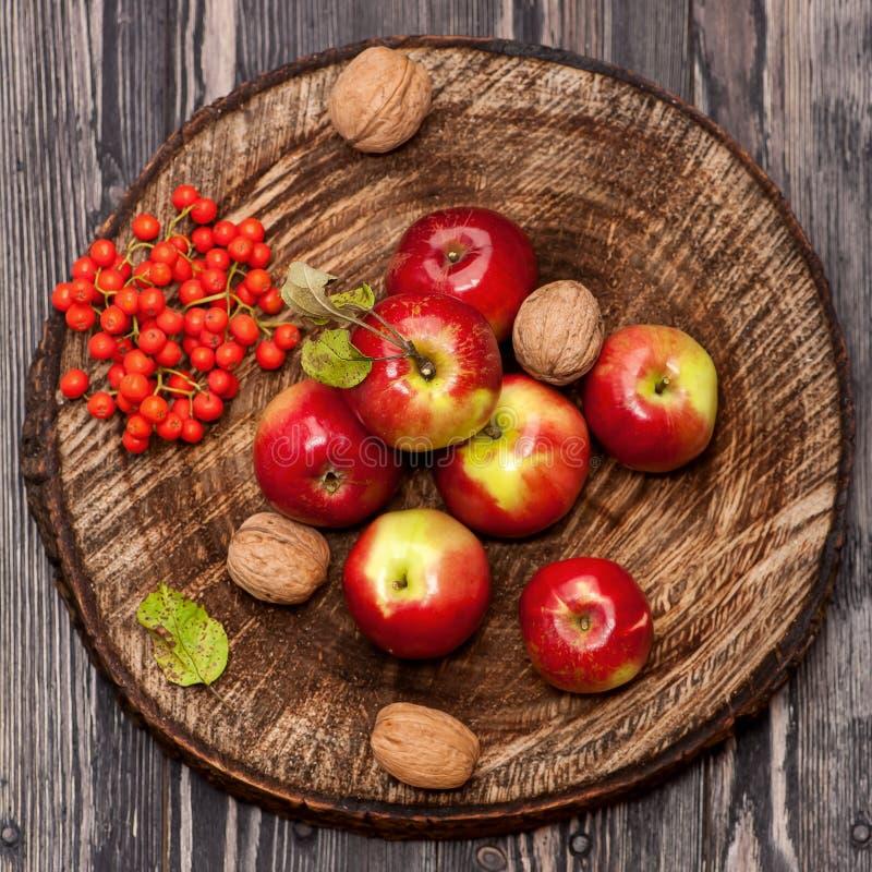 Manzanas y nueces rojas foto de archivo