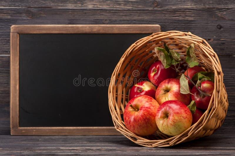 Manzanas y tablero de tiza fotos de archivo libres de regalías
