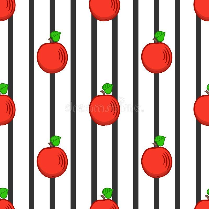 Manzanas y tiras estilizadas del negro, modelo inconsútil libre illustration