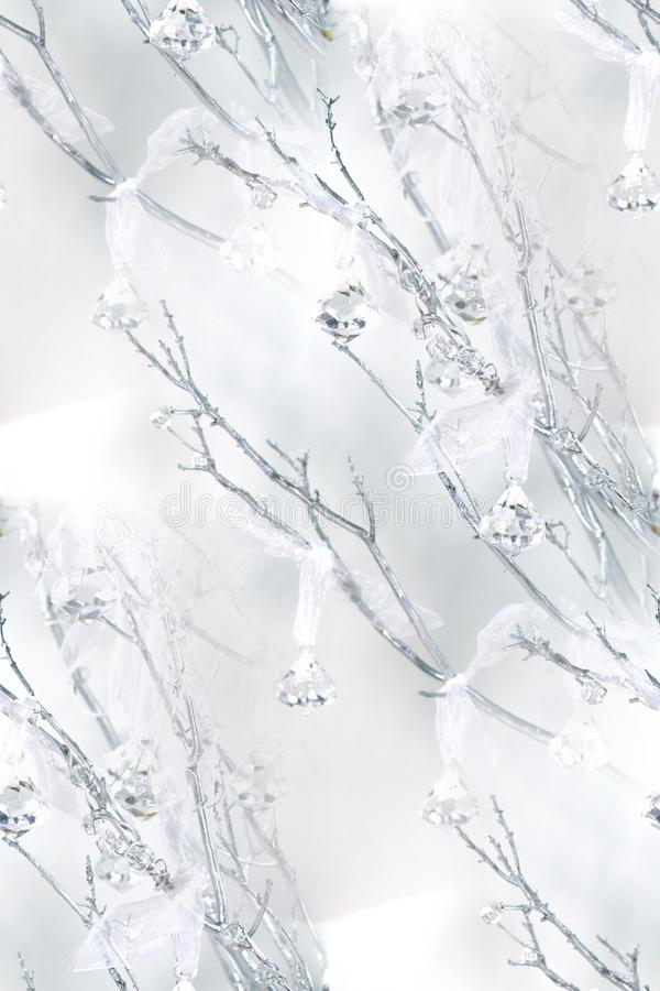 Manzanitatakken, kristallen, zuivere organza royalty-vrije stock afbeelding