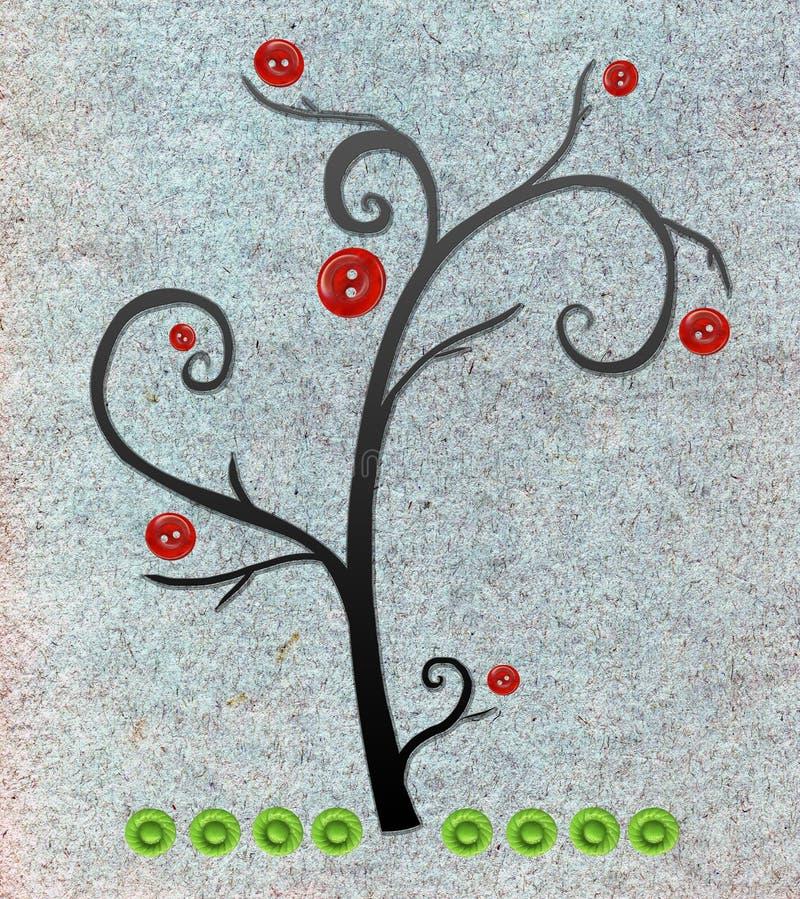 Manzano Con los botones stock de ilustración