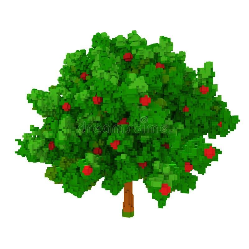 manzano del voxel 3d ilustración del vector
