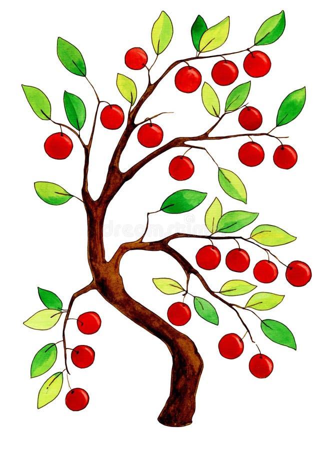 Manzano fabuloso de la acuarela stock de ilustración