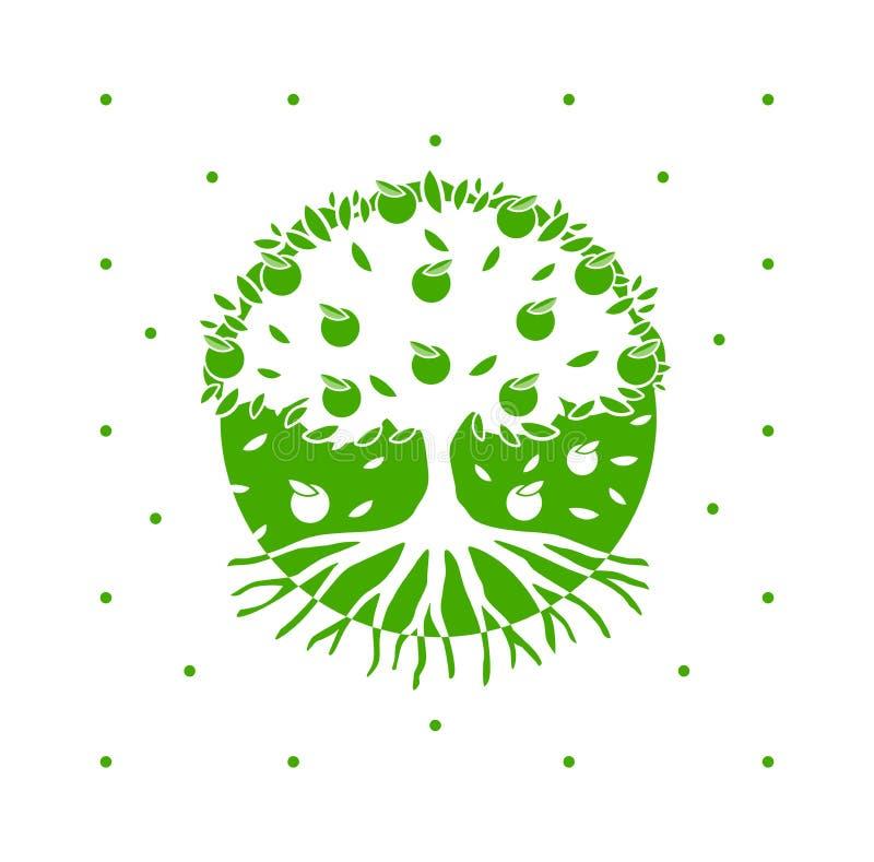 Manzano verde del vector con las raíces stock de ilustración