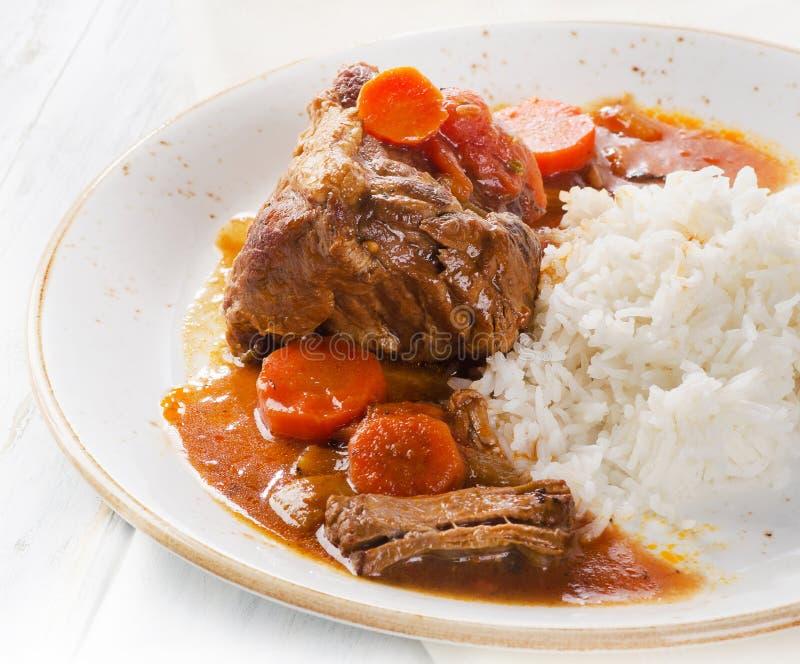Manzo cucinato con riso fotografie stock